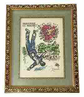 """Marc Chagall """"Derriere le Miroir"""" Color Lithograph"""