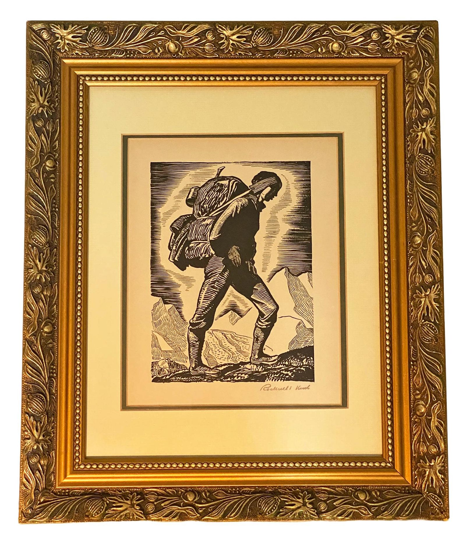 Rare Rockwell Kent Pencil Signed Woodcut on Paper