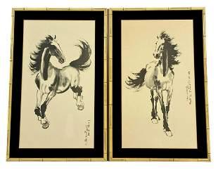 Pair of Xu Beihong Framed Horse Scroll Prints