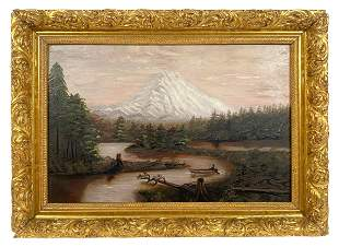Antique Mount Rainier Oil Painting on Board