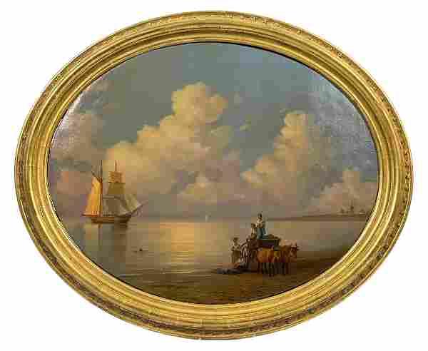 Antique European 19th C. Seascape Oil Painting
