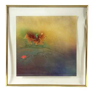 Artist Signed Embellished Abstract Screenprint