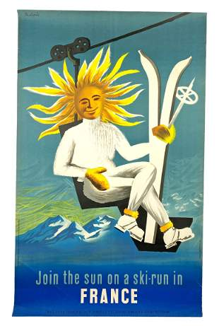 Jacques Dubois Mid Century French Ski-Run Poster