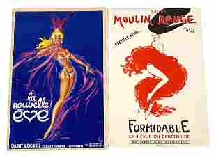 2 Mid Century French Cabaret Litho Pin Up Posters