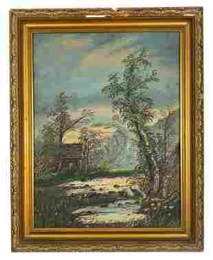 Antique 19th C. Unsigned Landscape Oil Painting