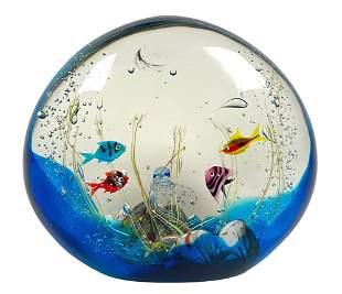 Elio Raffaeli Murano Glass Aquarium Sculpture