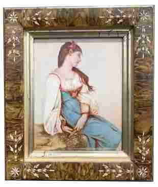19th/20th C. Porcelain Plaque Portrait Painting