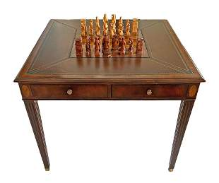 Lloyd Buxton Leather Top Game Table