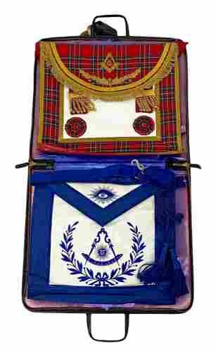 Two (2) Freemasonry Masonic Aprons w/ Case