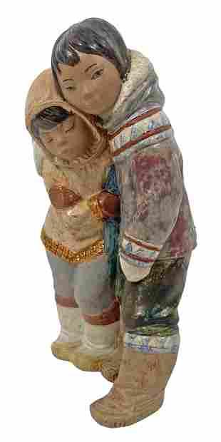"Lladro ""Eskimo Boy & Girl"" Porcelain Figure #2038"