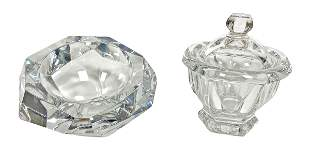 Baccarat Crystal Ash Tray & Covered Candy Jar