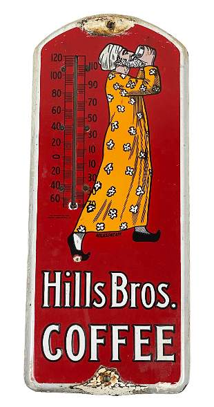 Hills Bros. Coffee Thermometer Porcelain Sign