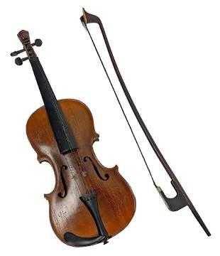 Antique 19th C. European Violin & Bow