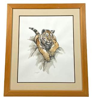 "Guy Coheleach ""Tiger Portrait"" Pencil Signed Litho"