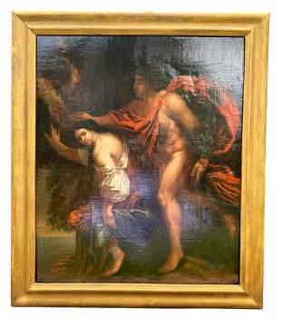 18th C Old Master Oil Painting of Tarquinius & Lucretia