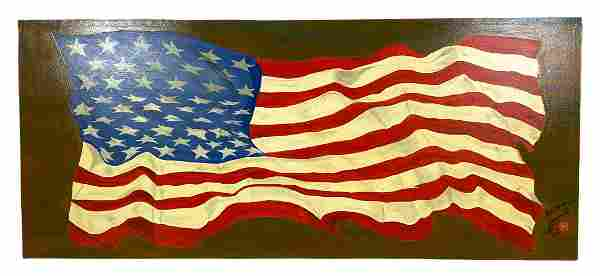Maxima Lida American Flag Oil Painting on Canvas