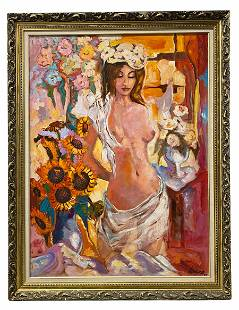 Bill Newsom Nude Oil Painting on Canvas
