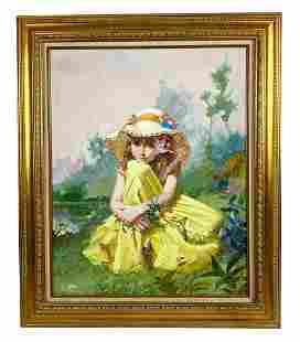 "Pino Daeni ""Flower Girl"" Oil Painting on Canvas"