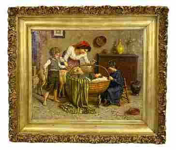 Attributed to Eugenio E. Zampighi Oil Painting