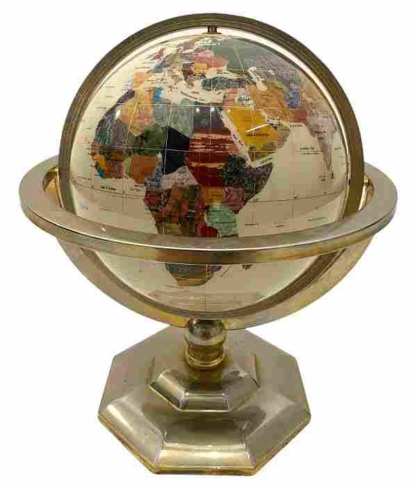 Vintage Stone Inlaid Brass Globe