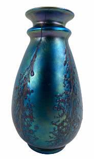 LCT Tiffany Favrile Grape Vine Art Glass Vase
