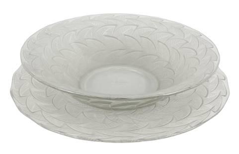 "Rene Lalique ""Ormeaux"" Crystal Bowl & Under Plate"
