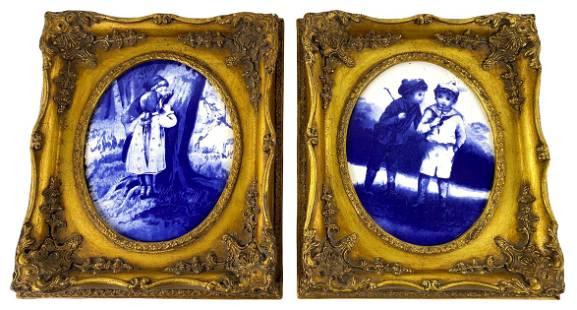 Pair of Antique Framed B&W Porcelain Plaques
