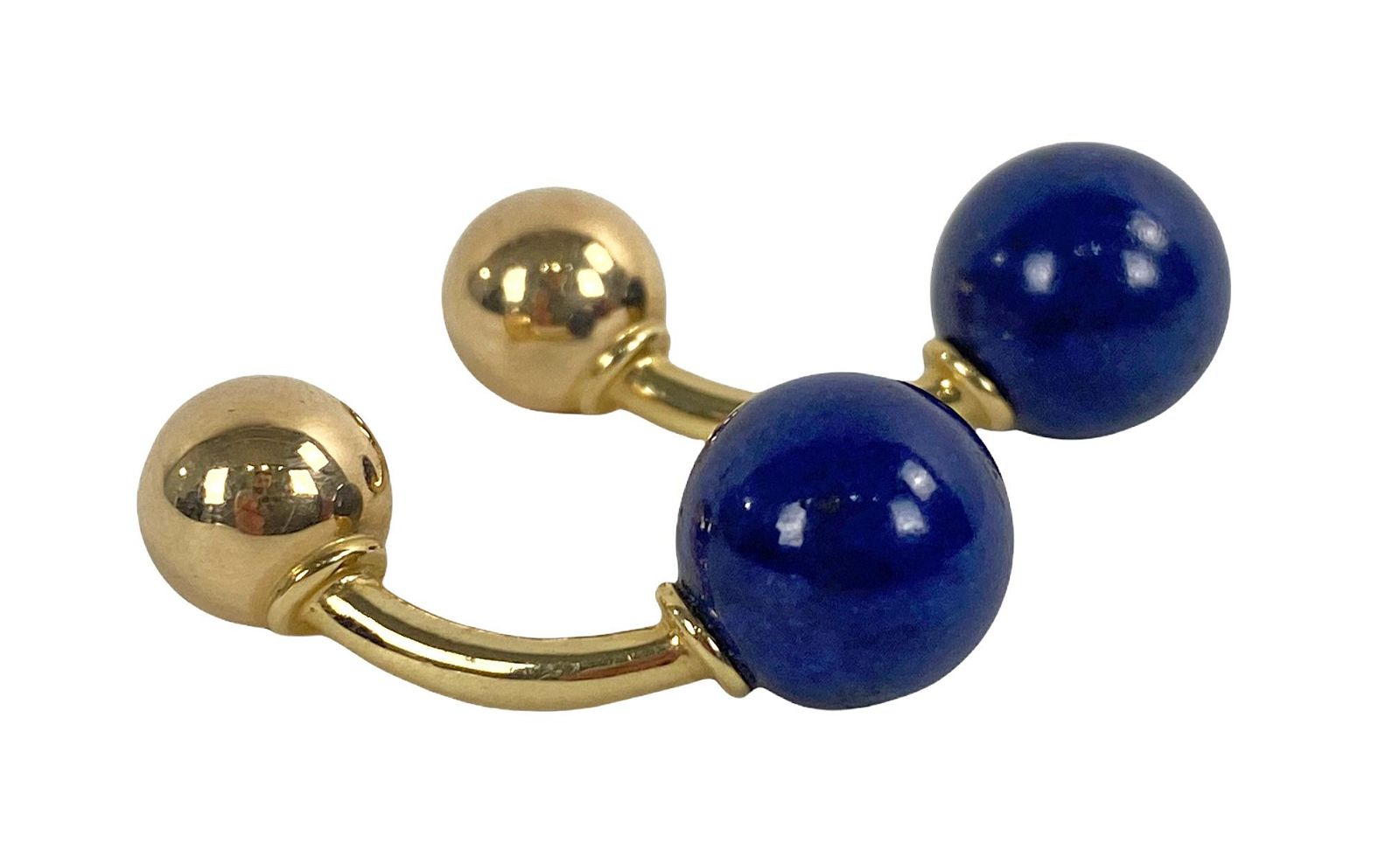 Vintage Tiffany & Co 14K Gold 10mm Lapis Cufflinks
