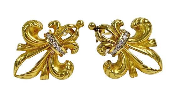 """Lagos 18K Gold & Diamond """"Fleur-de-lis"""" Earrings"""