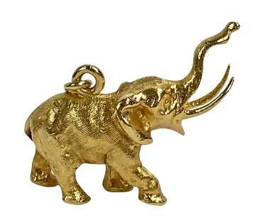 18K Yellow Gold Stampeding Elephant Charm Pendant