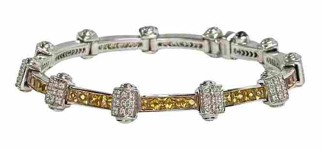 Charriol 18K Gold Yellow Citrine Diamond Bracelet