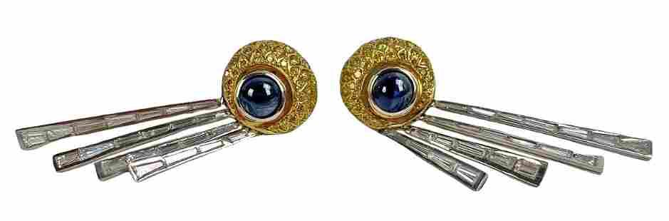 Deco 18K 2ctw Sapphire & 6ctw Diamond Earrings