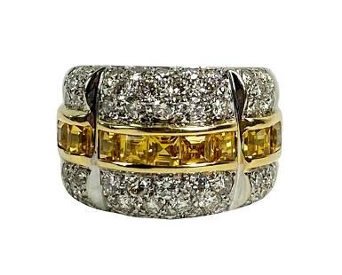 Estate 18K Gold Diamond & Yellow Sapphire Ring