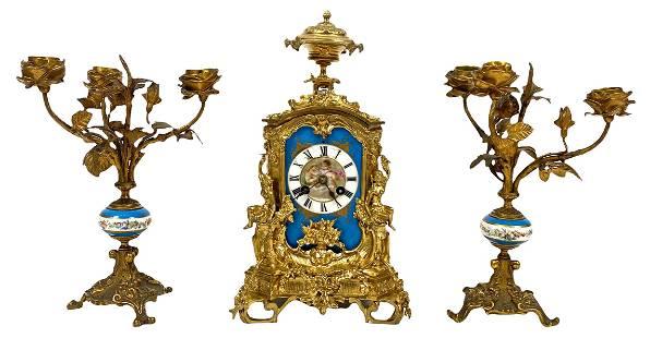 3pc Antique Sevres French Clock Garniture Set