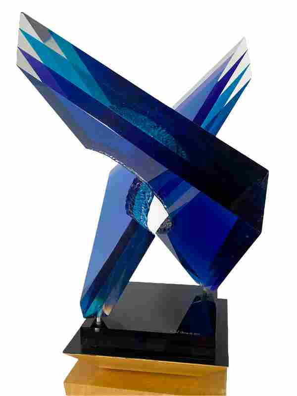 """Michael George """"Intersection"""" Acrylic Sculpture"""