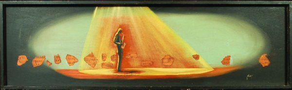 """18: 18* Bill Clinton """"The Sax Player"""" painting, signed"""