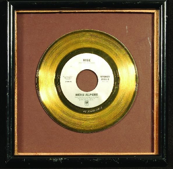 "1345: * Herb Alpert ""Rise"" gold 45 display"