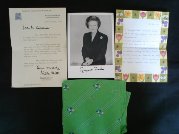 13: Margaret Thatcher  Scarf letter and signed Pic.