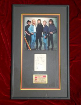 Def Leppard A Signed Album Page And A Concert Ticke