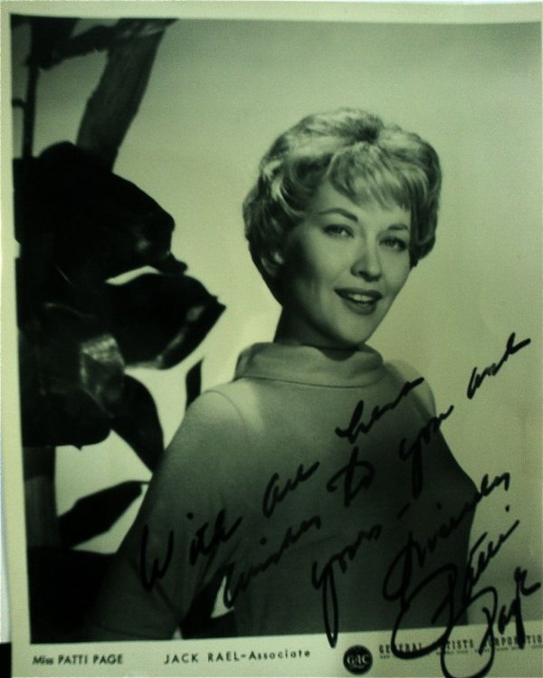 17: Patti Page  - A   b/w promotional signed photo
