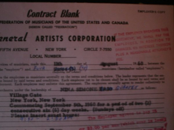 312: Nina Simone A General Artist Signed Contract