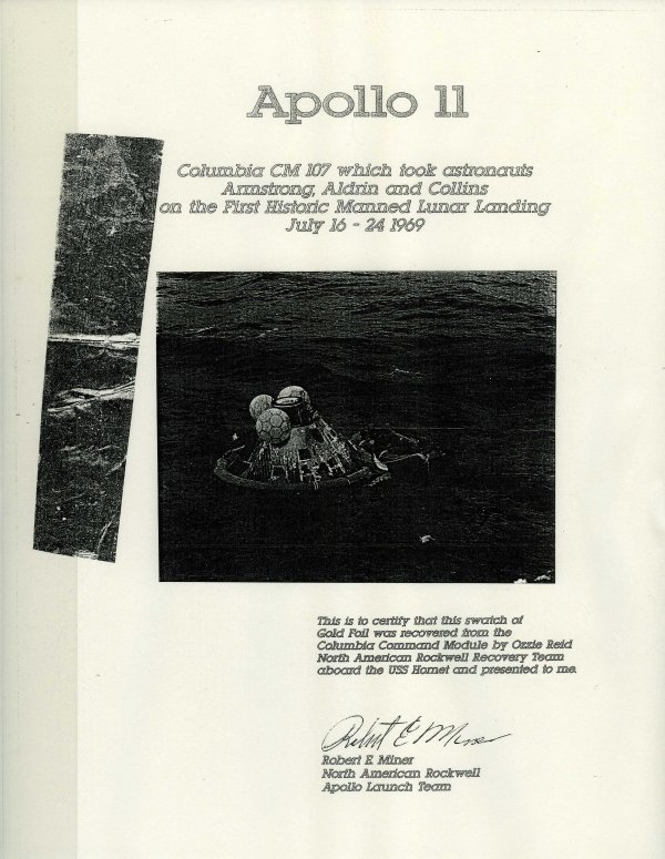 1: 1969 First Moon Landing Buzz Aldrin ACTUAL PIECE OF