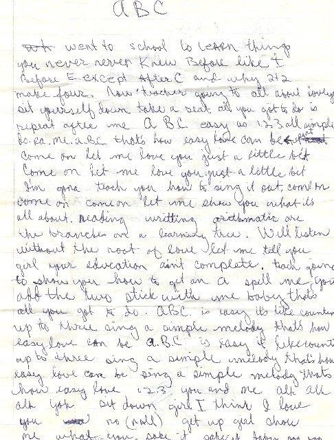 "189: Jacksons  The handwritten lyrics for ""ABC"""