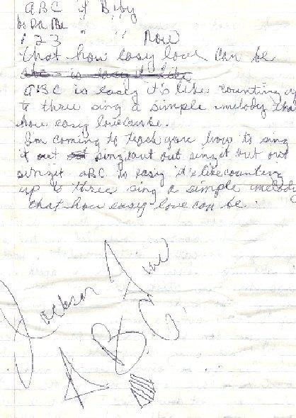 "189: Jacksons  The handwritten lyrics for ""ABC""   - 2"