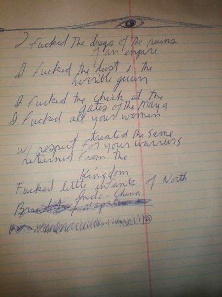 167: Jim Morrison Unpublished handwritten Lyric/poem.