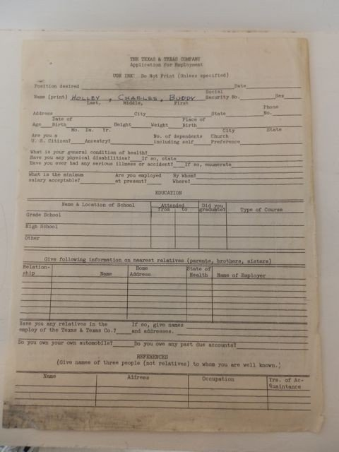 1: Buddy Holly's Employment Application