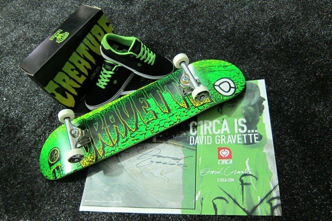 3: David Gravette C1RCA Skateboard, Shoe,Poster