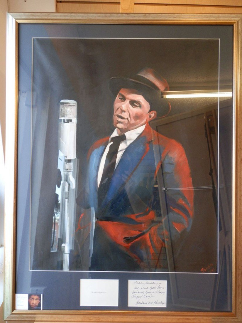6: Original Oil of Sinatra with handwritten Note