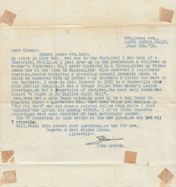 10: Laurel & Hardy Important Letter from Stan
