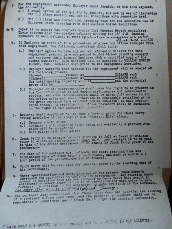 17: Chuck Berry William Morris Agency  Signed Contract